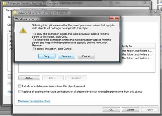 <blockquote>Windows Dialog box: Windows Security  [Copy][Remove][Cancel]</blockquote>