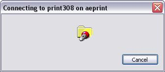 <blockquote>Windows Dialog Box:Connecting to print308 on aeprint