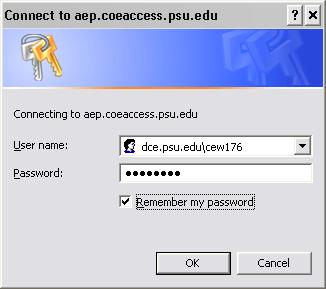 <blockquote>Windows Dialog Box: Connect to aep.coeaccess.psu.edu
