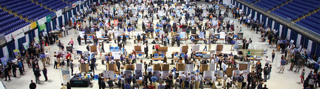 view of the floor of the bryce jordan center during the fall career fair