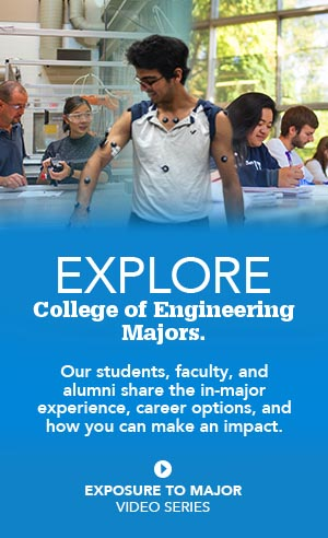Explore College of Engineering Majors. Out students, faculty, and alumni share the in-major experience, career options, and how you can make an impact. Go to Exposure to Major Video Series.