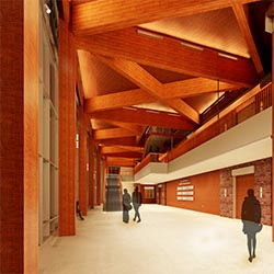 rendering of facility's north lobby