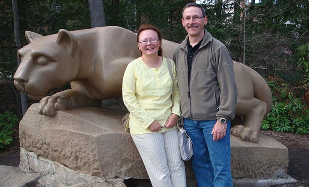 Eric and Janet Tomajko Branyan at the Lion Shrine