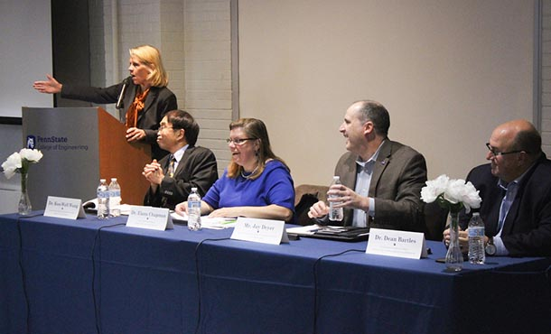 A group of mechanical engineers speak on a panel