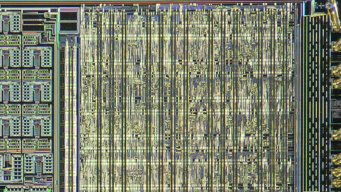 section of a microcircuit board