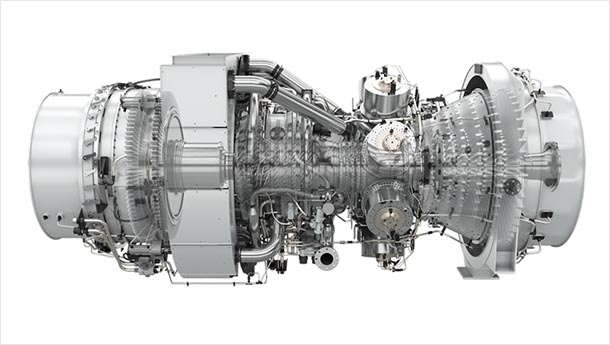 A drawing of a gas turbine