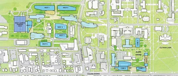 campus map showing locations of new facilities proposed for the College of Engineering in the facilities master plan