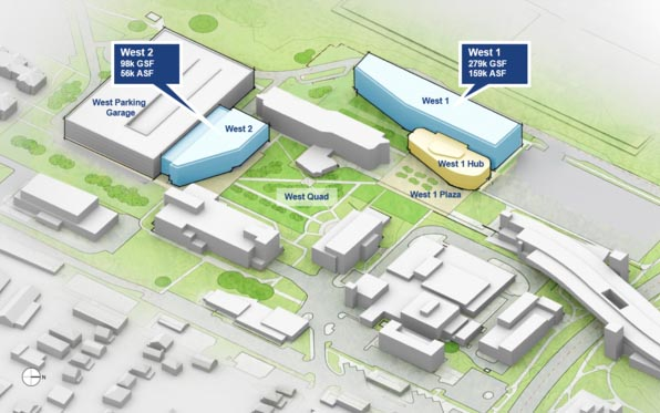 artist's rendering of planned buildings on West Campus