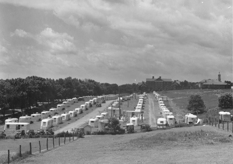 rows of trailers, circa 1946