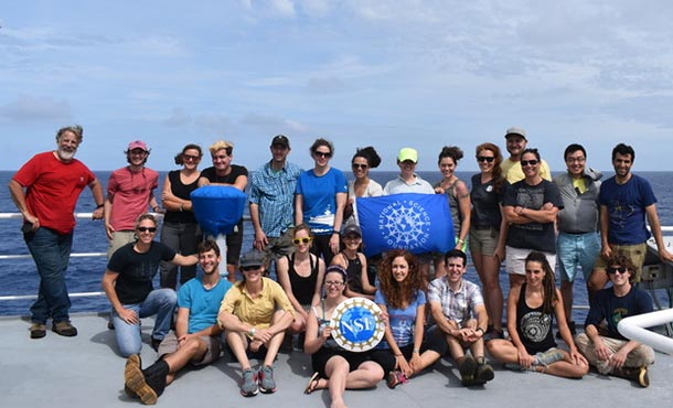 group shot of Matthew Rau and his cruise cohort on ship's deck