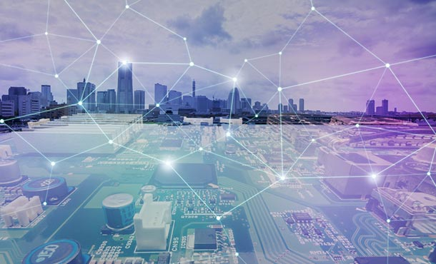 cityscape covered in data points with computer panel in the foreground
