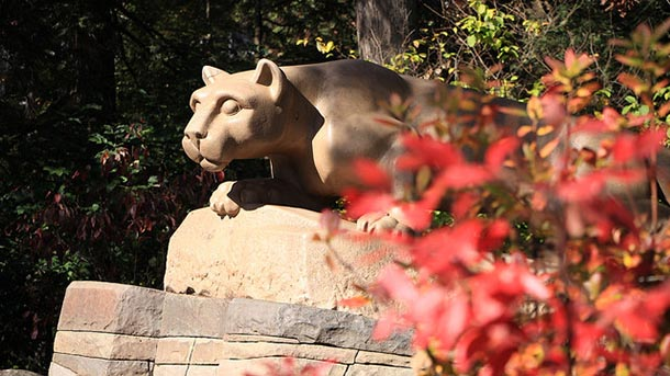 nittany lion statue at the lion shrine