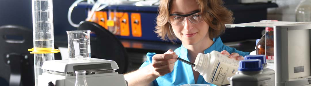 female student working in chemical engineering lab